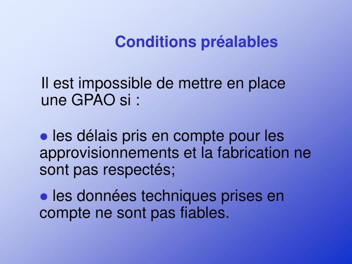Conditions préalables