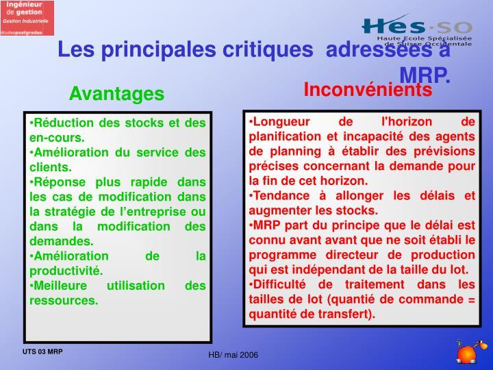 Les principales critiques  adressées à MRP.