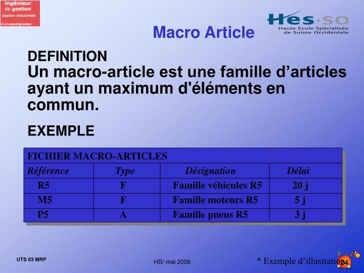FICHIER MACRO-ARTICLES