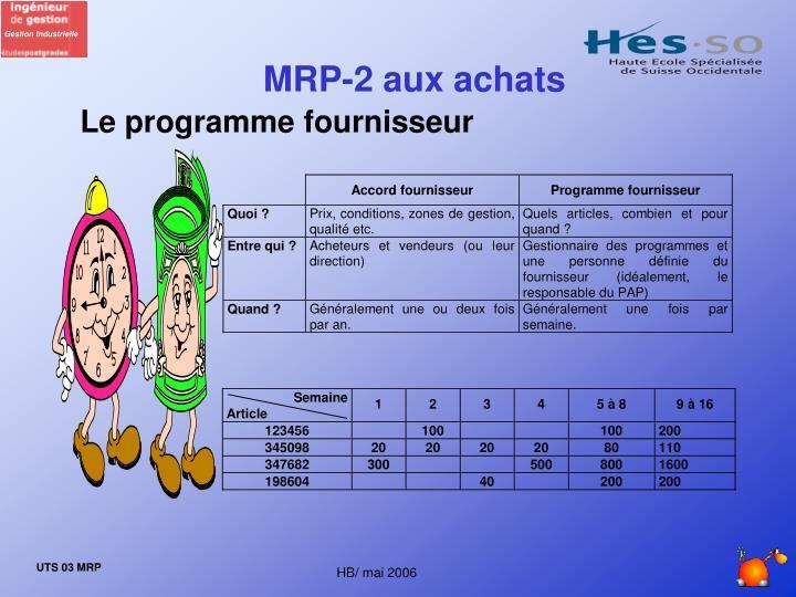 MRP-2 aux achats
