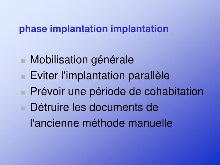 phase implantation implantation