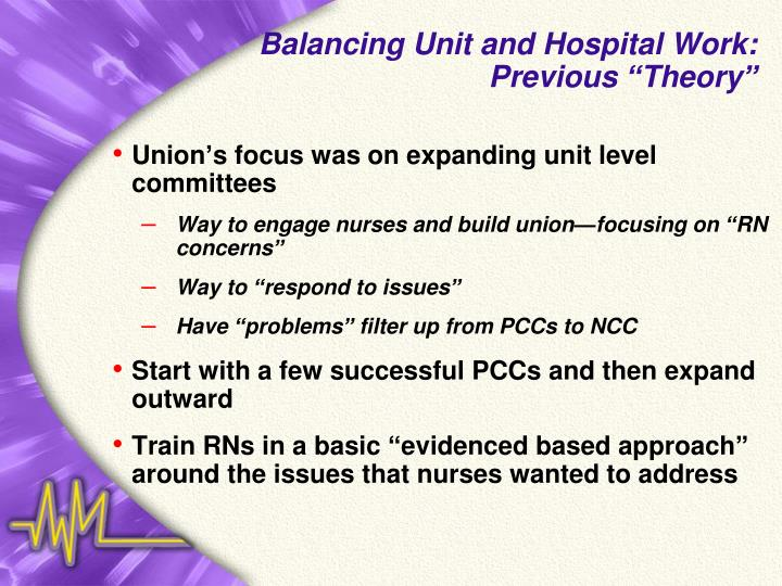 Balancing Unit and Hospital Work:
