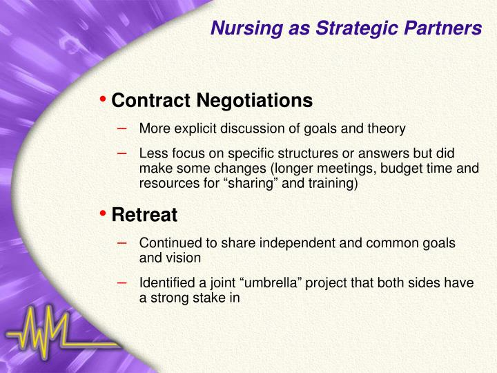 Nursing as Strategic Partners