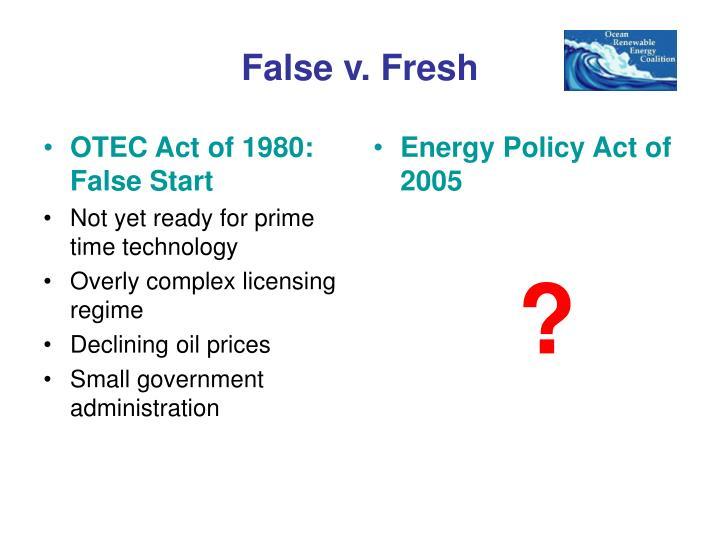 OTEC Act of 1980: False Start