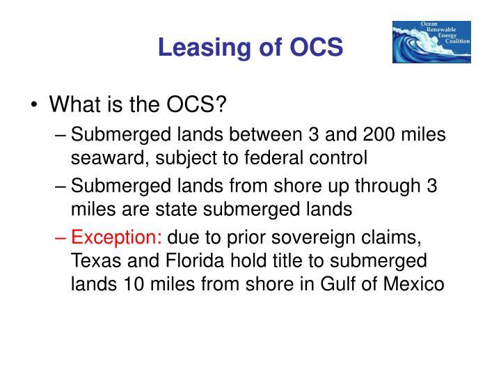 Leasing of OCS