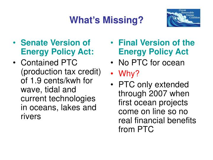 Senate Version of Energy Policy Act: