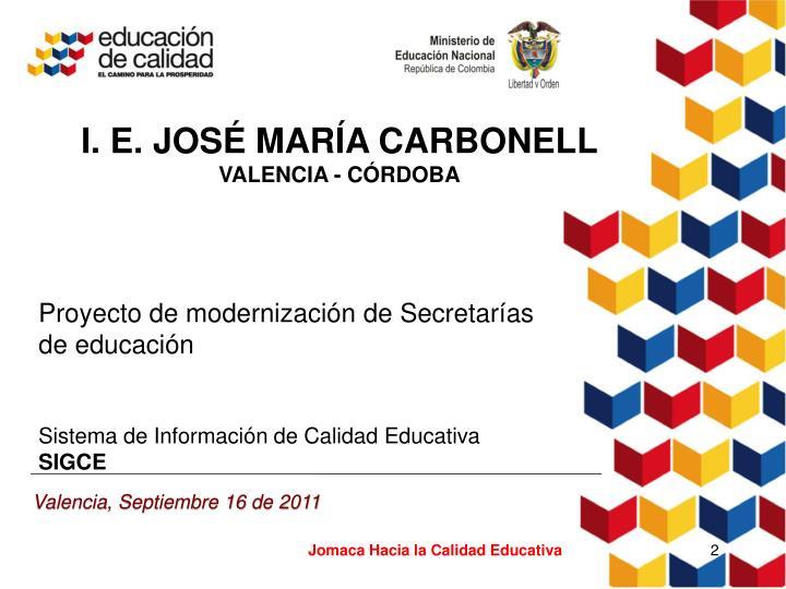I. E. JOSÉ MARÍA CARBONELL