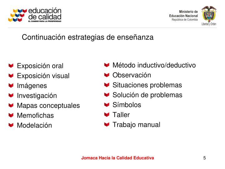Continuación estrategias de enseñanza
