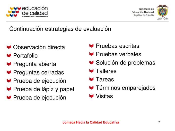 Continuación estrategias de evaluación