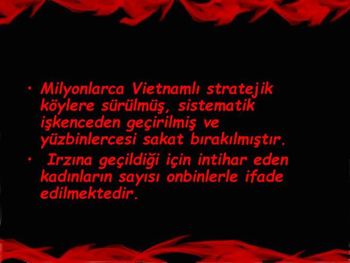 Milyonlarca Vietnaml stratejik kylere srlm, sistematik ikenceden geirilmi ve yzbinlercesi sakat braklmtr.