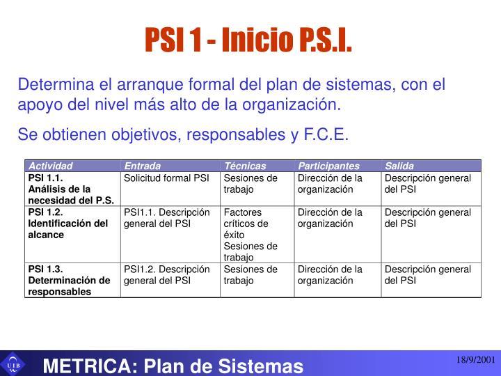 PSI 1 - Inicio P.S.I.