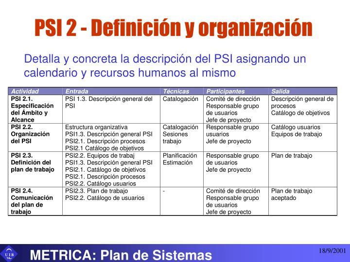 PSI 2 - Definición y organización