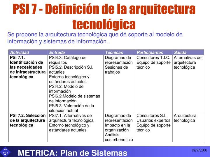 PSI 7 - Definición de la arquitectura tecnológica