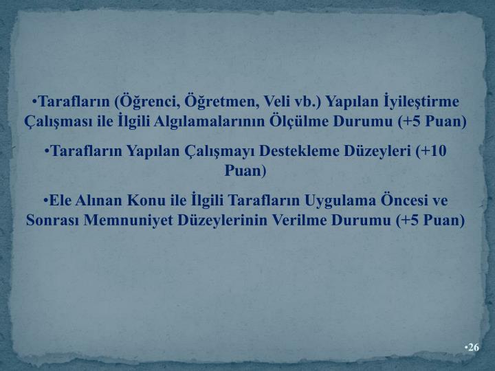 Taraflarn (renci, retmen, Veli vb.) Yaplan yiletirme almas ile lgili Alglamalarnn llme Durumu (+5 Puan)