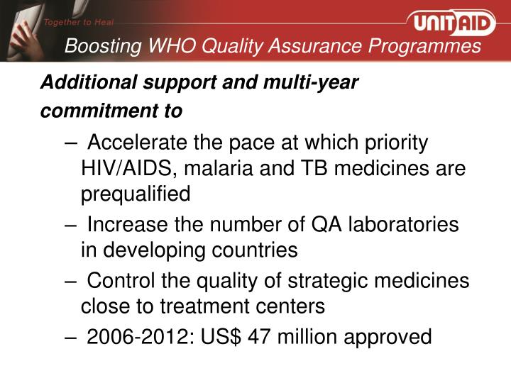 Boosting WHO Quality Assurance Programmes