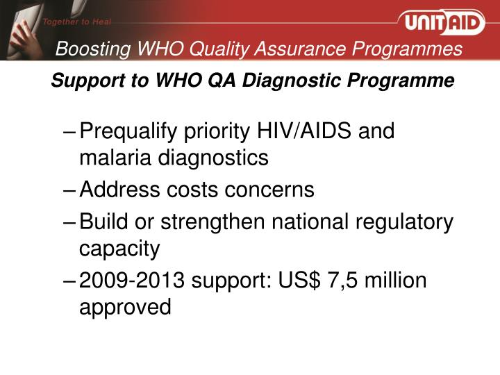 Support to WHO QA Diagnostic Programme