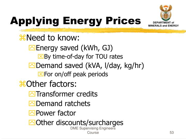 Applying Energy Prices