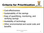 criteria for prioritisation