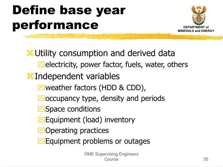 Define base year performance