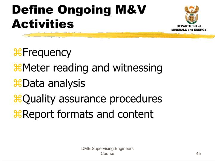 Define Ongoing M&V Activities