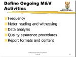 define ongoing m v activities
