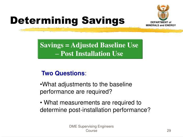 Determining Savings