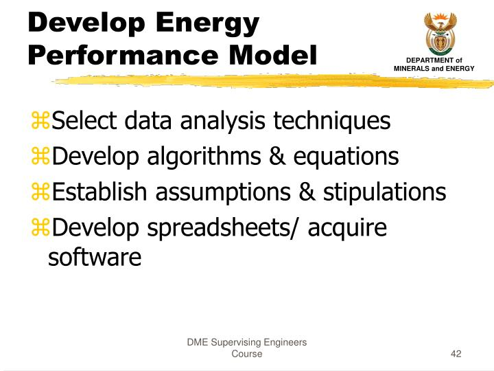 Develop Energy Performance Model