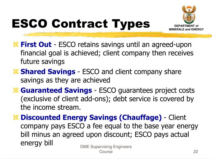 ESCO Contract Types
