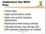 implement the m v plan