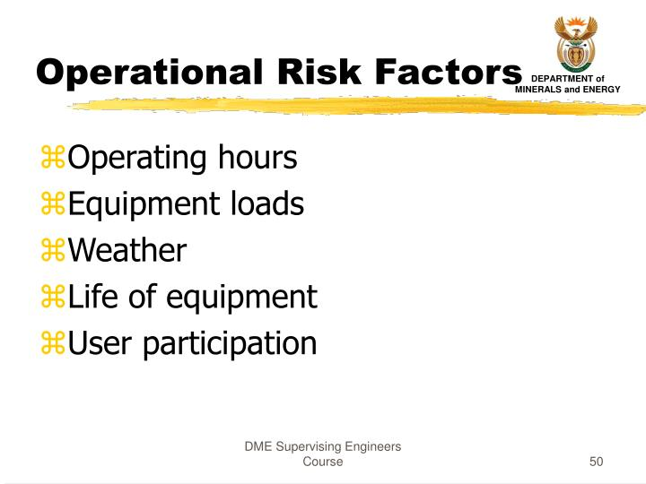 Operational Risk Factors
