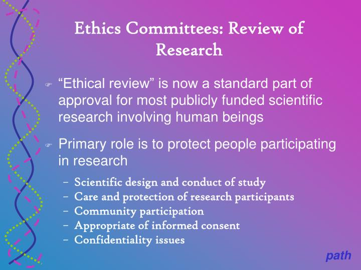 Ethics Committees: Review of Research