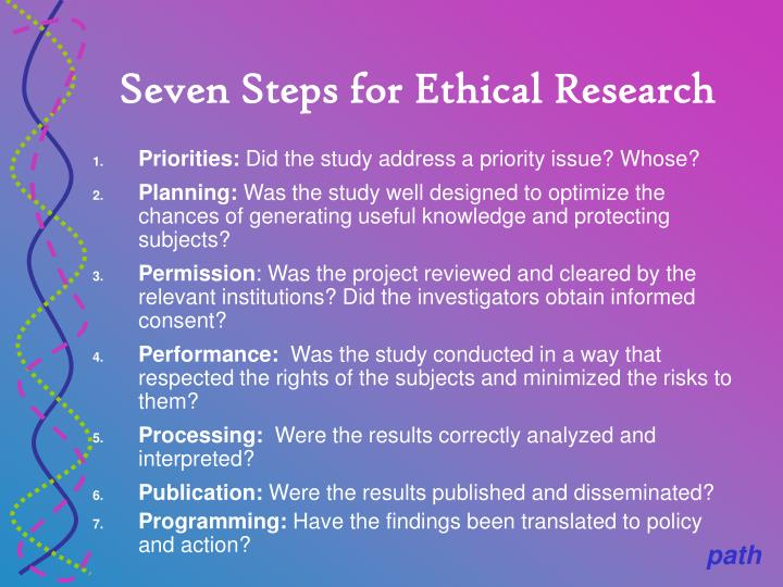 Seven Steps for Ethical Research