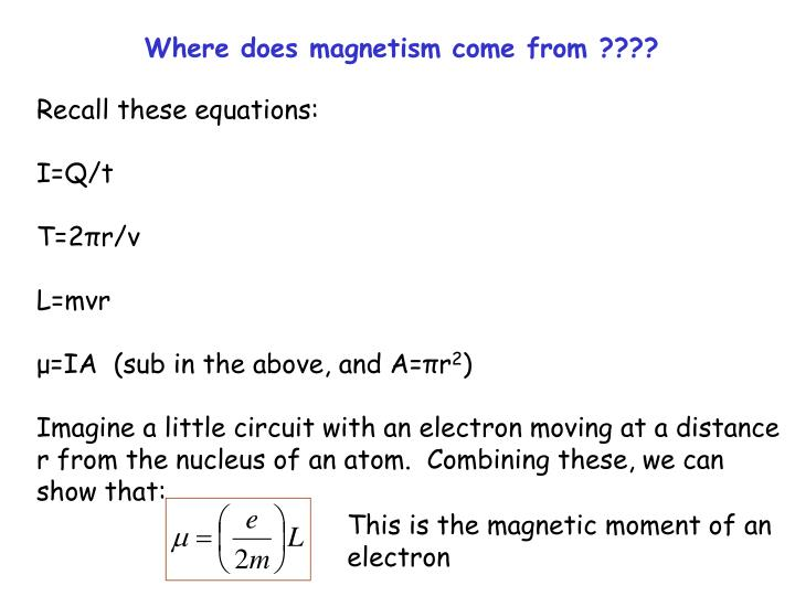 Where does magnetism come from ????