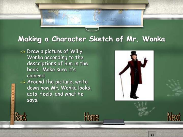 Making a Character Sketch of Mr. Wonka