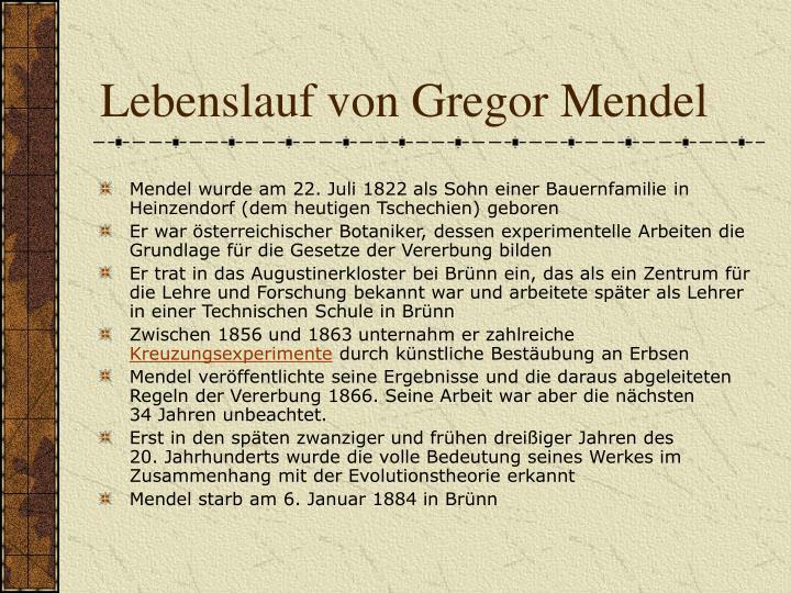 Lebenslauf von Gregor Mendel