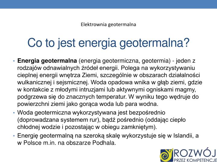 Co to jest energia geotermalna?