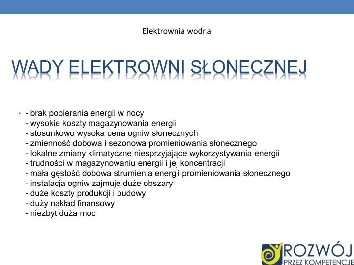 Wady elektrowni słonecznej