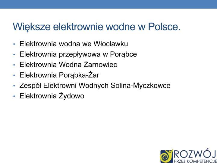 Większe elektrownie wodne w Polsce.