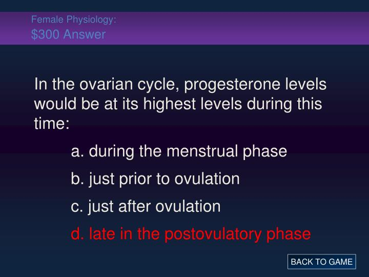 Female Physiology: