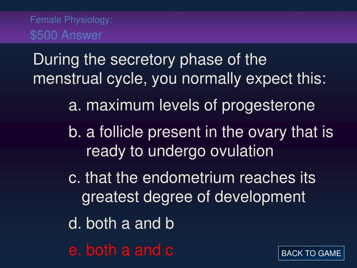 Female Physiology: