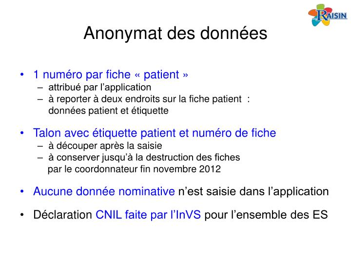 Anonymat des données