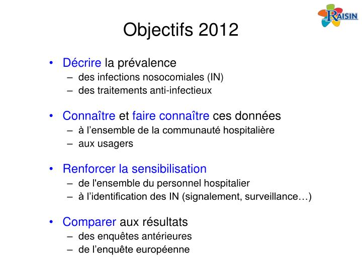 Objectifs 2012