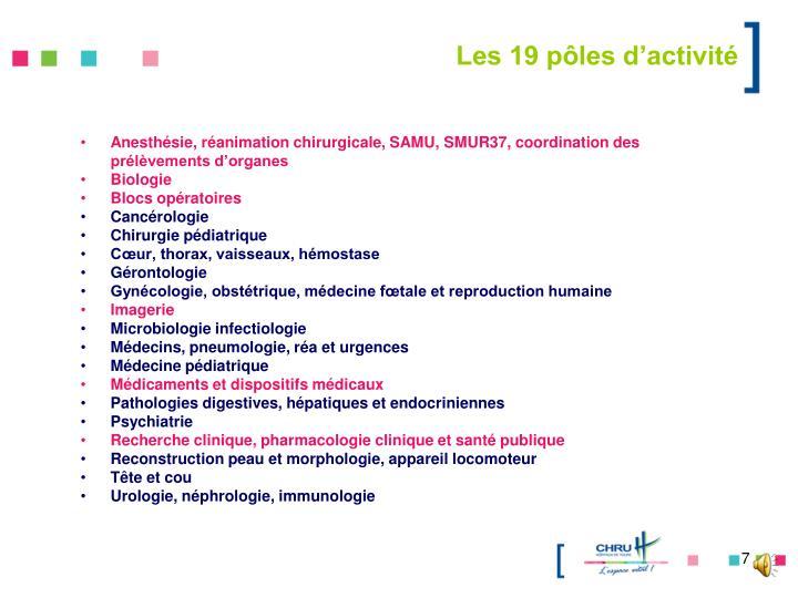 Les 19 pôles d'activité