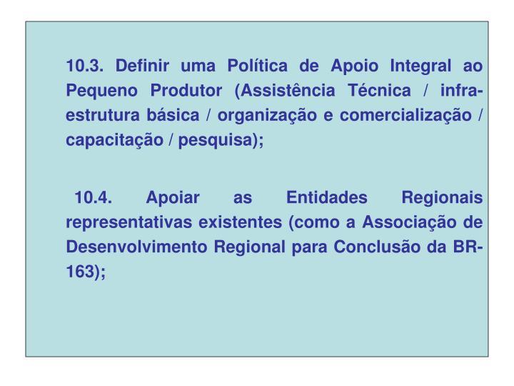 10.3. Definir uma Política de Apoio Integral ao Pequeno Produtor (Assistência Técnica / infra-estrutura básica / organização e comercialização / capacitação / pesquisa);