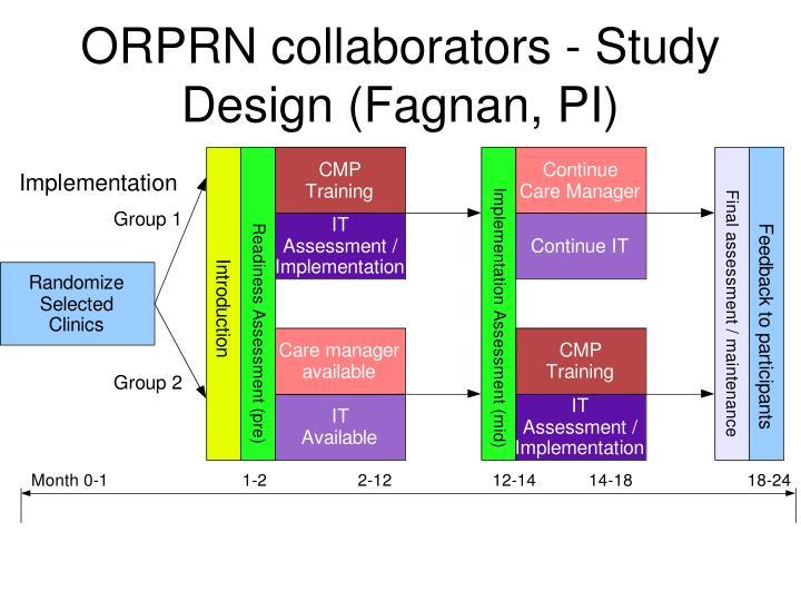 ORPRN collaborators - Study Design (Fagnan, PI)