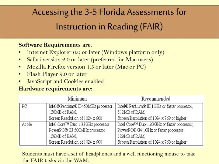 Accessing the 3-5 Florida Assessments for Instruction in Reading (FAIR)