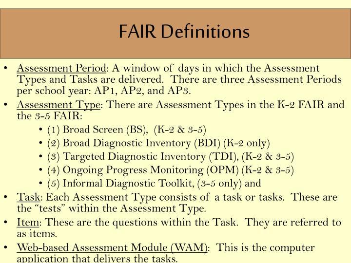 FAIR Definitions