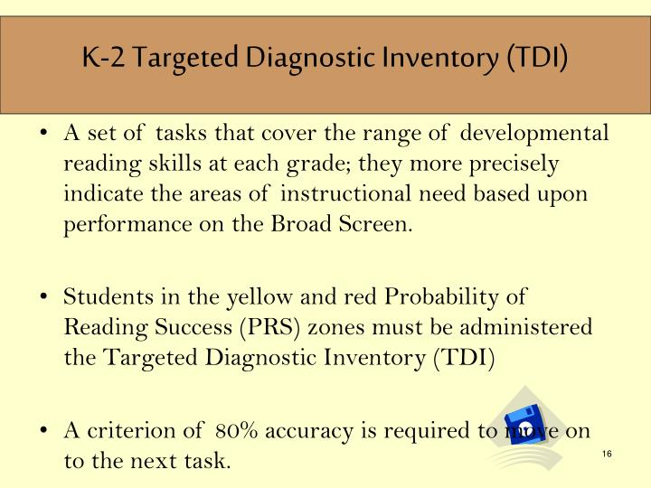 K-2 Targeted Diagnostic Inventory (TDI)