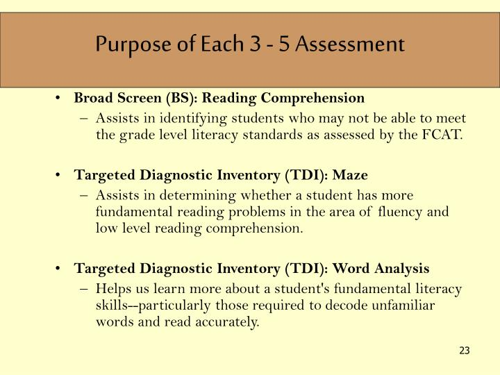Purpose of Each 3 - 5 Assessment