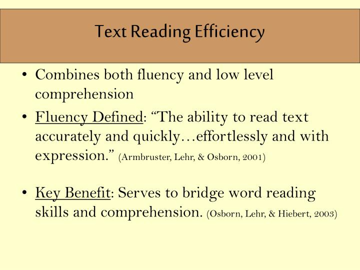 Text Reading Efficiency